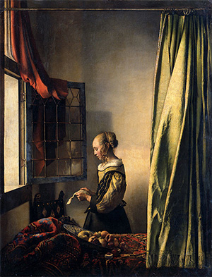 Girl Reading a Letter by an Open Window by Vermeer